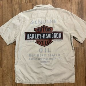 Harley-Davidson Shirts - Harley Davidson Button Down Khaki Shirt L